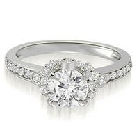 0.82 cttw. 14K White Gold Round Cut Diamond Engagement Ring