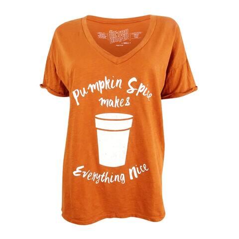 Retro Brand Women's Pumpkin Spice Graphic T-Shirt (S, Orange) - Orange - S