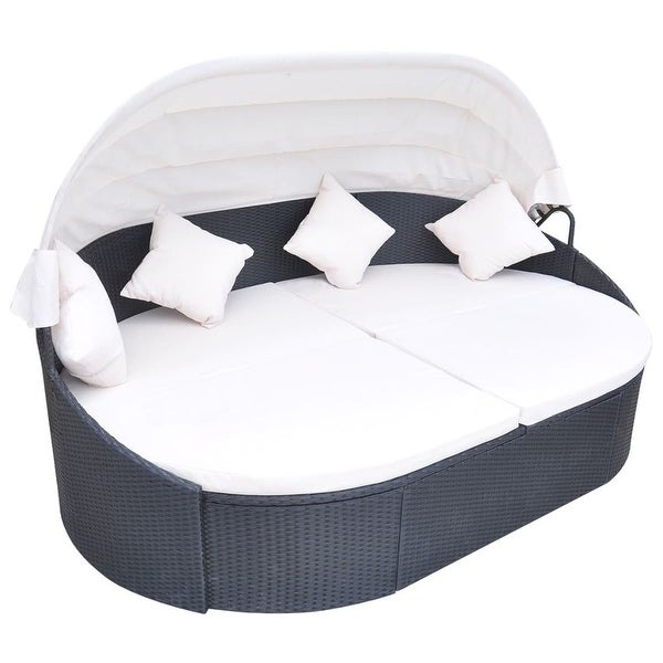 """vidaXL Outdoor Lounge Bed with Canopy Poly Rattan Black - 91"""" x 57"""" x 31"""". Opens flyout."""