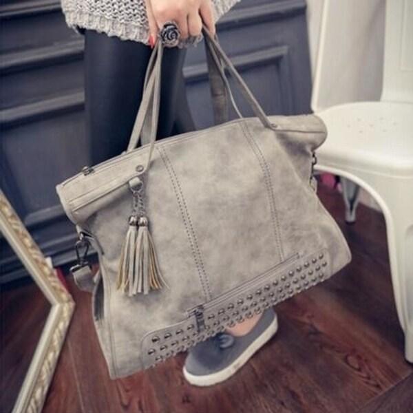 Rivet Women Handbag Frosted Women Messenger Crossbody Bag Large Capacity Women  Tote Shoulder Bag Ladies Tassel 5dd737c6e88c1