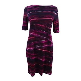 Connected Women's Petite Printed Tiered Sheath Dress - Wine