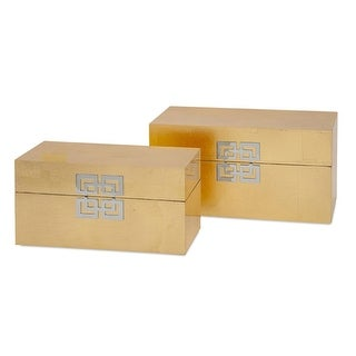 """Set of 2 Asian Inspired Gold Leaf Bold Fabric-Lined Decorative Boxes 13.25"""""""