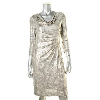Tahari ASL Womens Metallic Ruched Wear to Work Dress - 6