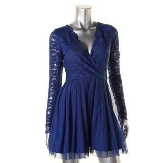 Teeze Me Womens Juniors Lace Bodice Mini Party Dress