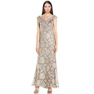 Tadashi Shoji Off Shoulder Floral Embroidered Evening Gown Dress - 8