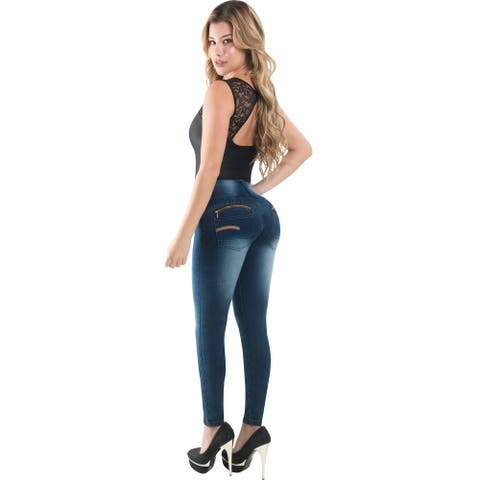 Butt Lifter Skinny Women Jeans High Rise Waist Push Up Authenthic Levanta Cola Colombianos Blue 504DB by Fiorella Shapewear