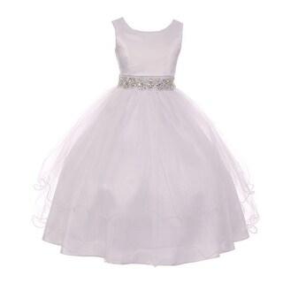Girls White Satin Sheen Rhinestone Belt Tulle Flower Girl Communion Dress 6-20