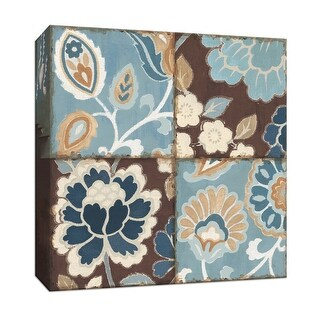 "PTM Images 9-153313  PTM Canvas Collection 12"" x 12"" - ""Blue Patchwork Motif I"" Giclee Flowers Art Print on Canvas"