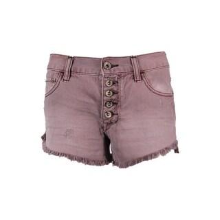 Free People Women's Disstressed Frayed Hem Shorts - Fig - 24