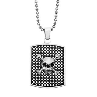 Rock and Redemption Men's Crystal Skull Dog Tag Pendant in Stainless Steel