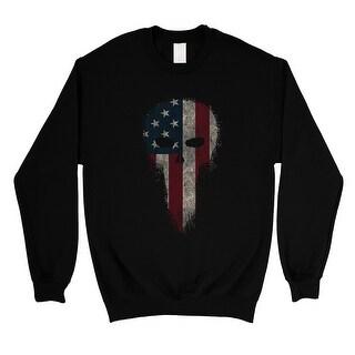 Vintage American Skull Unisex Black Crewneck Sweatshirt 4th of July