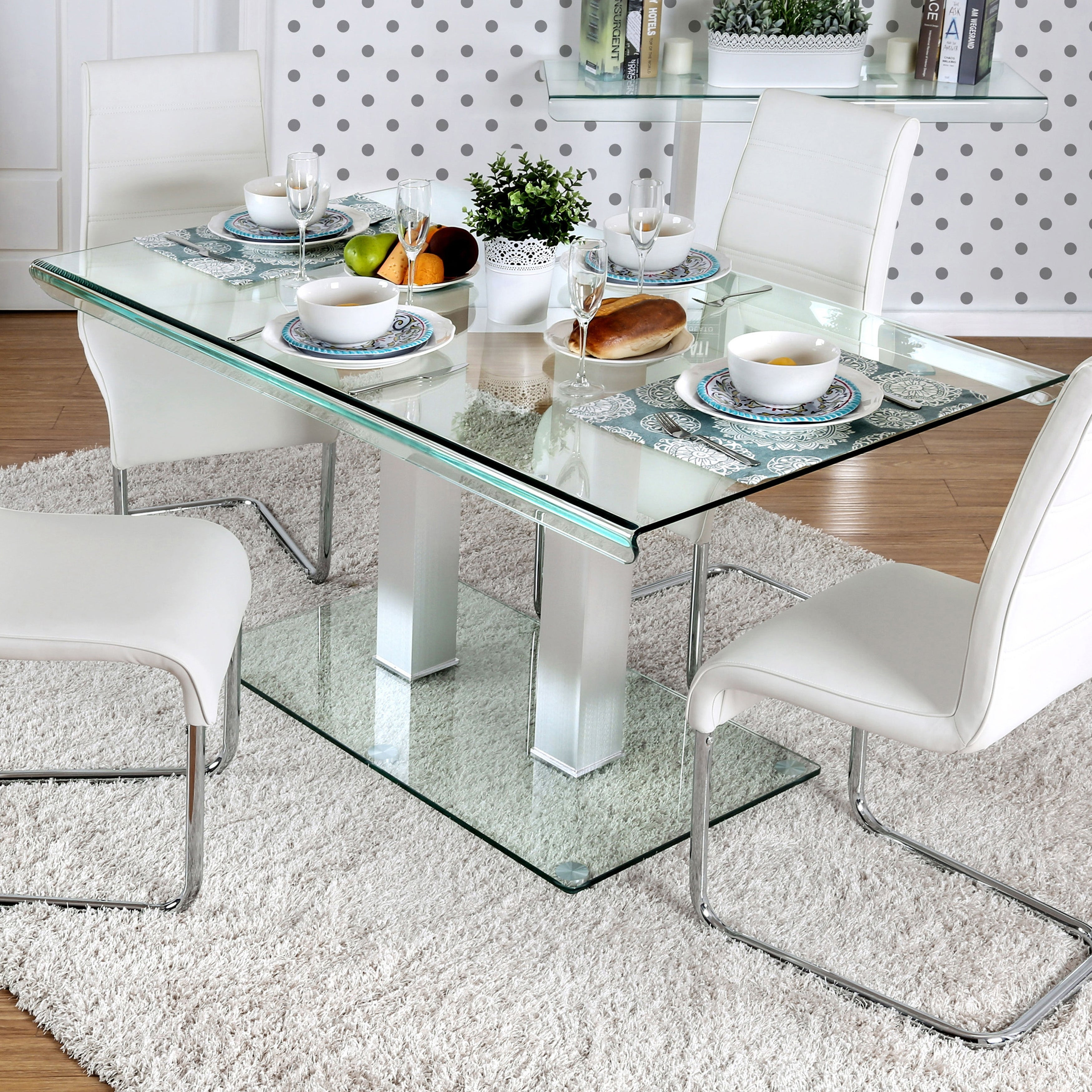 Furniture Of America Maza 59 In Silvertone Metal Glass Dining Table Overstock 12521474
