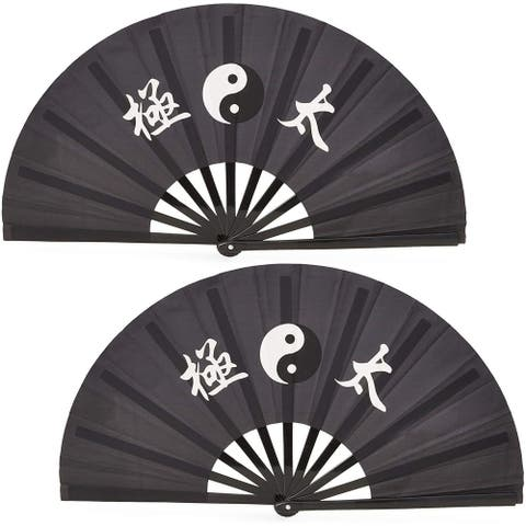 "2 Pack Black Large 13"" Kung Fu Tai Chi Plastic Paper Handheld Folding Hand Fan"