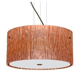 Besa Lighting 1KV-4008CS Tamburo 3 Light Cable-Hung Pendant with Stone Copper Foil Glass Shade (2 options available)