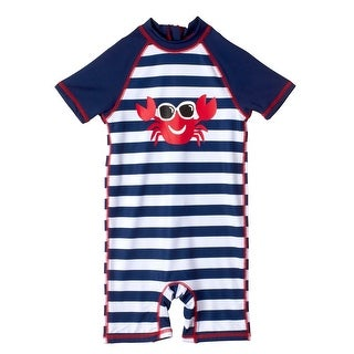 Wippette Baby Boys Swimwear Stripes Crab w/ Sunglasses Rashguard Bathing Suit (2 options available)