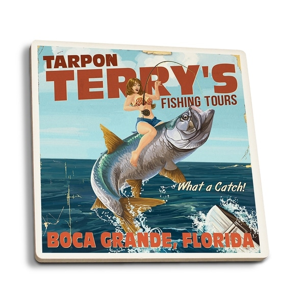 Boca Grande, FL Pinup Tarpon Fishing - LP Artwork (Set of 4 Ceramic Coasters)