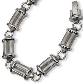 Chisel Brushed and Polished Titanium Bracelet - 9 Inches