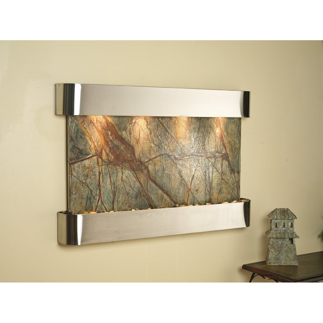 Adagio Sunrise Springs With Green Rainforest Marble in Stainless Steel Finish an - Thumbnail 0