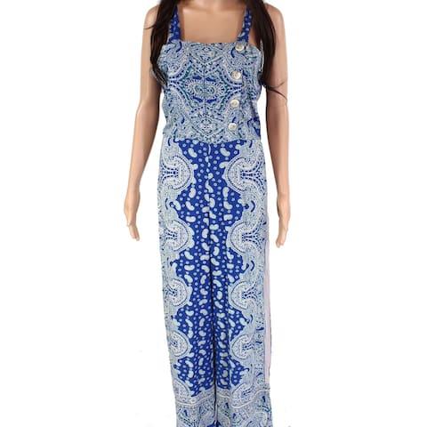 Angie Juniors Jumpsuit Blue Size Medium M Button-Down Print Shirred