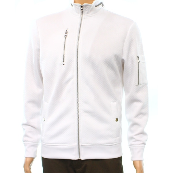 Inc New White Pure Mens Size Large L Full Zip Diamond Quilted Jacket
