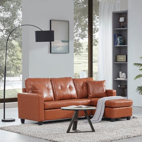BELLEZE Sectional Sofa Linen/ Faux Leather L shaped Couch Reversible - standard