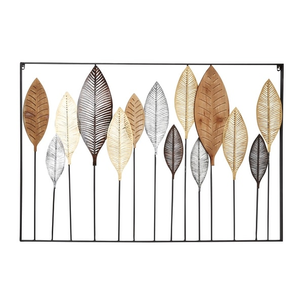 """Large Gray Gold and Silver Metal and Wood Leave Sculpture Wall Decor 47"""" x 31.5"""". Opens flyout."""