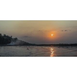 Yellow Sun Over Water Canvas Wall Art Photograph