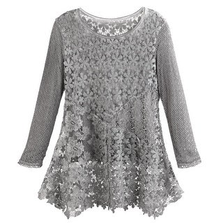 Women's Gray Gardens Lace Tunic Top - Layered Floral Lace Long Sleeves