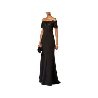 Ignite Evenings Womens Evening Dress Lace Trim Sequined
