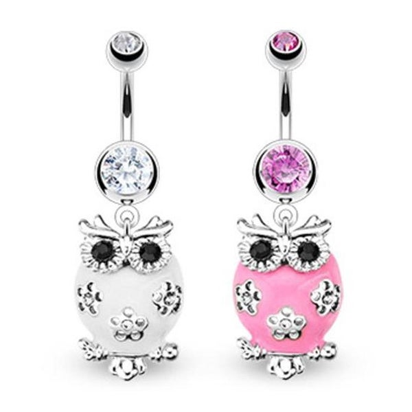 "Surgical Steel Fluffy Owl Paved Clear & Black Gem Navel Belly Button Ring - 14 GA 3/8"" Long (Sold Ind.)"