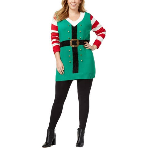 Hooked Up by IOT Womens Plus Elf Christmas Sweater Christmas Party