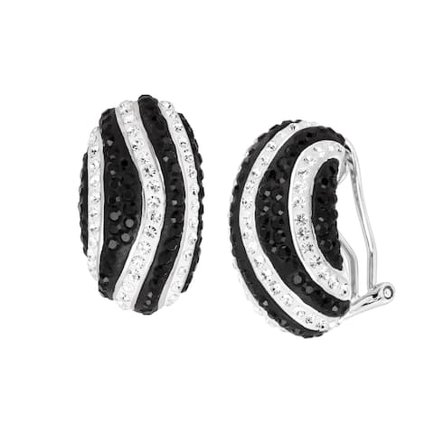 Striped Drop Earrings with Crystals in Rhodium-Plated Bronze - Black
