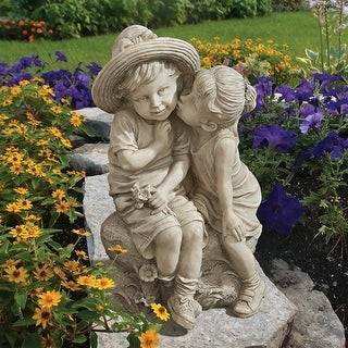 Link to Design Toscano Kissing Kids Boy and Girl Statue Similar Items in Bird Feeders & Birdbaths