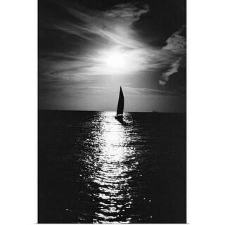 """""""Silhouette of sailboat at sea"""" Poster Print"""