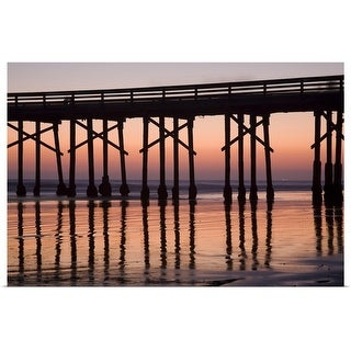 """""""Newport Beach Pier silhouetted at sunset"""" Poster Print"""