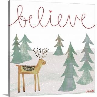 """Believe Reindeer"" Canvas Wall Art"