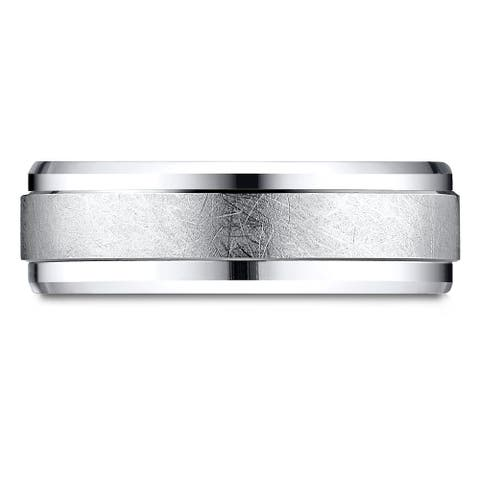 Platinum Men's Drop Bevel Swirl Finish 7mm Comfort-fit Band