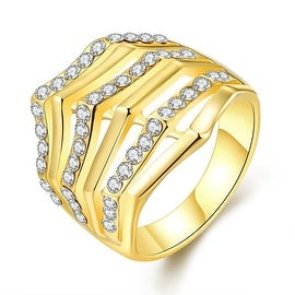 Gold Plated Triangular Curved Crown Ring