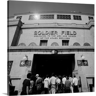 Premium Thick-Wrap Canvas entitled Spectators entering a football stadium, Soldier Field, Lake Shore Drive, Chicago,