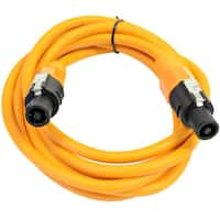 SEISMIC AUDIO 12 Gauge 10 Foot Orange Speakon to Speakon Speaker Cable 10'