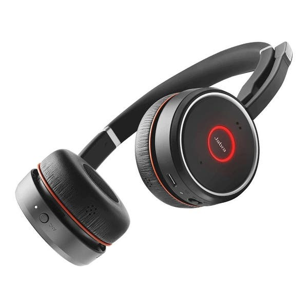 Shop Jabra Evolve 75 Stereo Bluetooth Headset W Charging Stand Active Noise Cancellation Overstock 17852573
