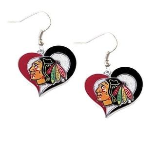 Chicago Blackhawks Swirl Heart Earring Nhl Dangle Logo Charm Gift