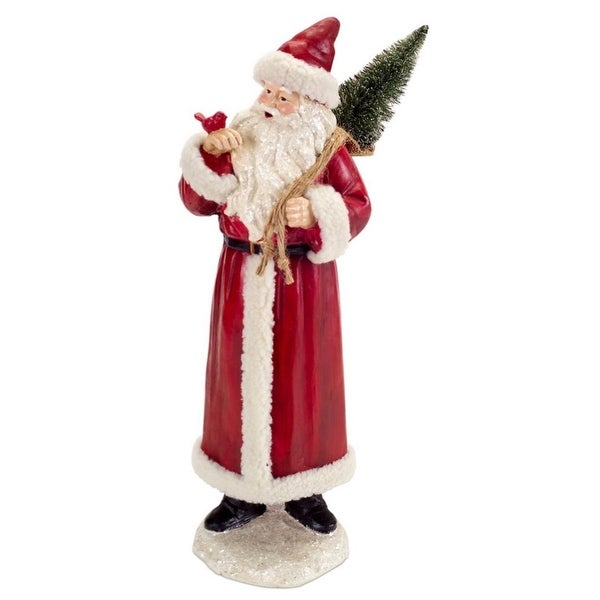 """18.5"""" Rustic Red and White Santa Claus Christmas Figure with Cardinal and Tree"""