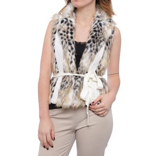 XOXO Sweater-Trim Faux-Fur Vest Vest Ivory Multi 9
