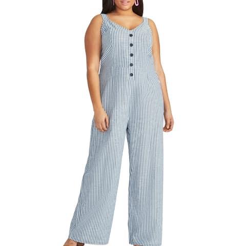 Rachel Roy Women's Jumpsuit Blue Size 18W Plus Striped Wide Leg Cotton