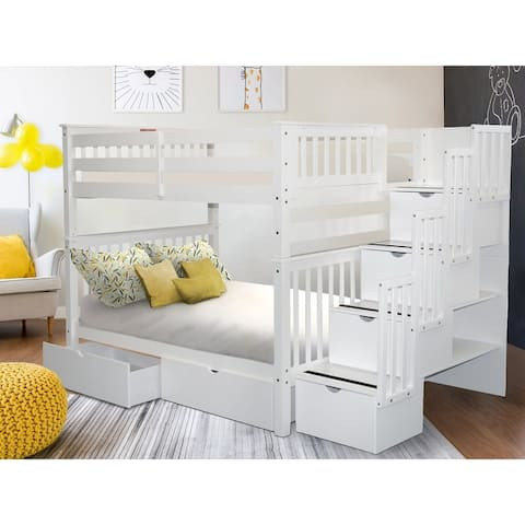 Taylor & Olive Trillium Full over Full Stairway Bunk Bed & 2 Drawers