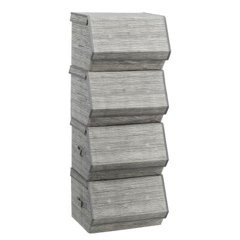 """Set of 4 Storage Bins Stackable Cubes with Lid - 15"""" L x 14"""" W x 10""""H (single)"""