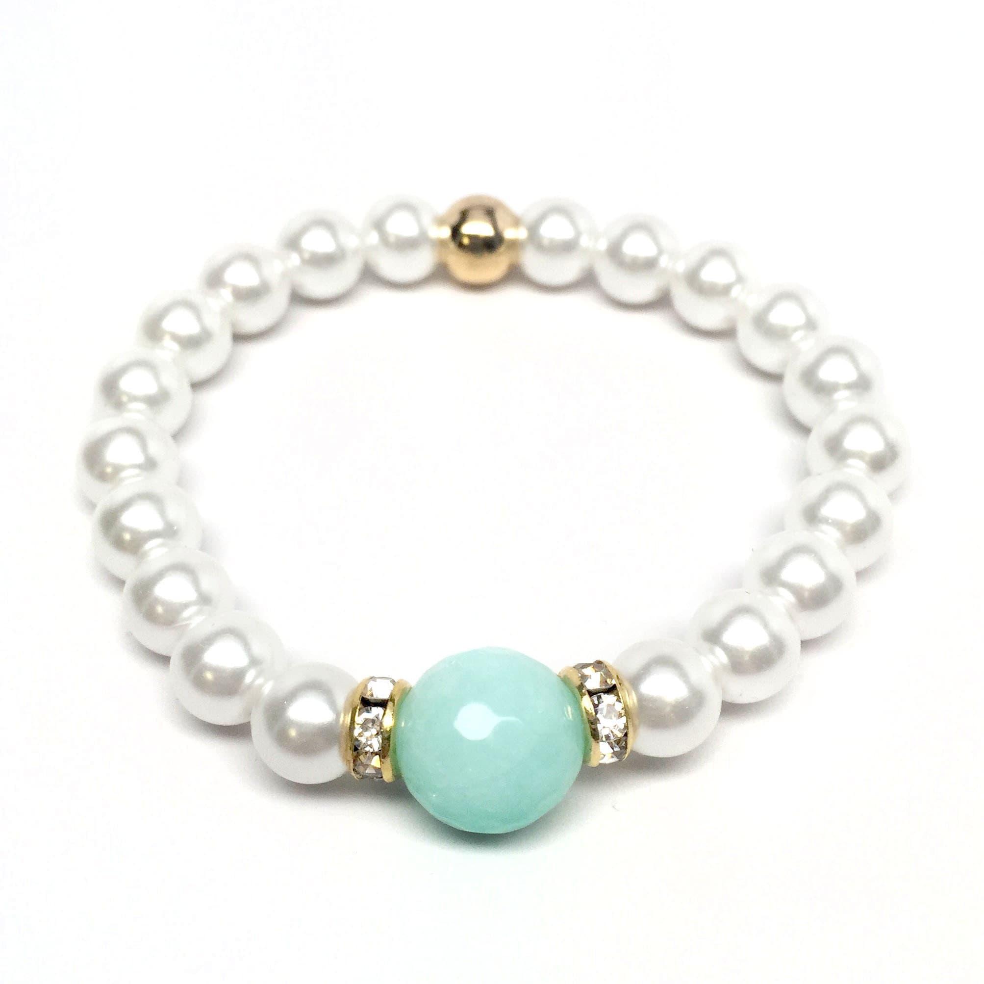 "Pearl & Aqua Quartz Joy 7"" Bracelet - Thumbnail 0"