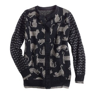Women's Cats Cardigan Sweater - Relaxed Fit Mid-Weight Knit Charcoal