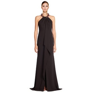 Carmen Marc Valvo Beaded Halter Ruffle Front Evening Gown Dress - 8